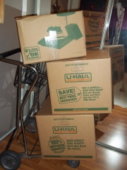 An entire carful of donations was tightly tetris-packed into these 3 large and heavyboxes!